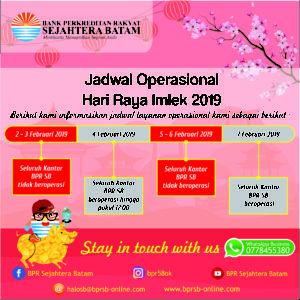 Jadwal Operasional Hari Raya Imlek 2019